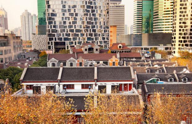 Old Chinese Houses High Rises Xintiandi Luwan Shanghai China