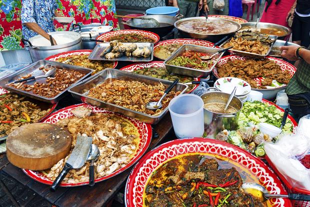 thai street food stall in bangkok thailand